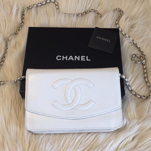 46cba93215d3 CHANEL Handbags - Chanel - White Caviar Leather WOC Silver Hardware
